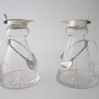 Antique Sterling Silver & Glass Whisky Tots - 1935/6