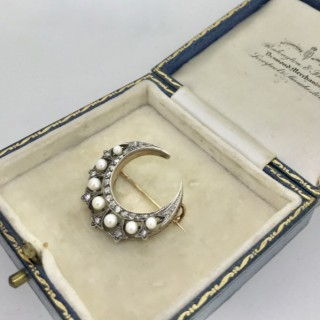 Victorian Diamond and Pearl Large Crescent Brooch