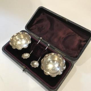 Pair Silver Salts ad Spoons