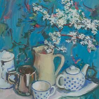 'Blossom in a White Jug' by Luke Martineau (born 1970)