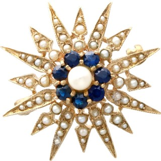 0.79ct Sapphire and Pearl, 9ct Yellow Gold Star Brooch - Victorian Style - Vintage 1965