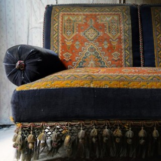 A Late Victorian Carpet Upholstered Two-Seater Sofa c.1895