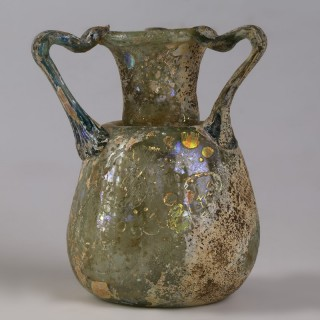 Ancient Roman Glass Aryballos with Three Handles