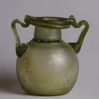 Ancient Roman Green Glass Aryballos
