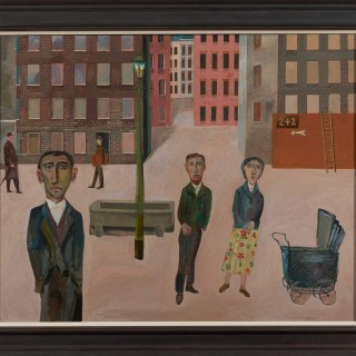 'Street Scene with Five Characters' by Simon Quadrat PPRWA NEAC (born 1946)