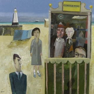 'Punch and Judy by the Lighthouse' by Simon Quadrat PPRWA NEAC (born 1946)