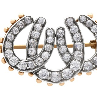 1.51ct Diamond and 8ct Yellow Gold Triple Horseshoe Brooch - Antique Victorian