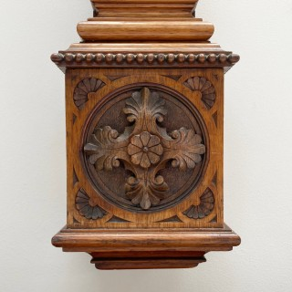 Victorian Golden Oak Stick Barometer by Wood Late Abraham of Liverpool