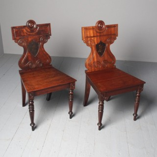 Antique Pair of George III Hall Chairs