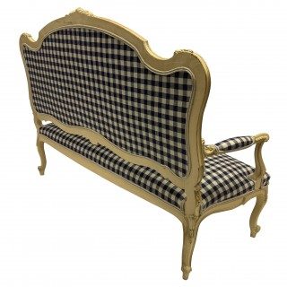 A PAINTED LOUIS XV STYLE CANAPE IN GINGHAM LINEN