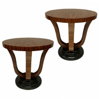 A PAIR OF FRENCH END TABLES IN ZEBRANO WOOD & BLACK LACQUER