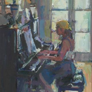 'Piano Study in Light and Dark' by Luke Martineau (born 1970)