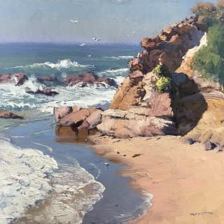 'Ochre Headland, Mystery Bay' by Warwick Fuller (born 1948)