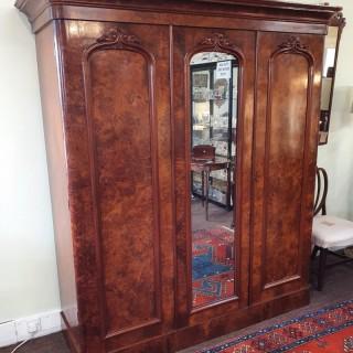 Victorian Scottish Burr Walnut Wardrobe
