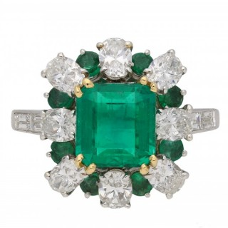 Vintage emerald and diamond cluster ring, French, circa 1960.