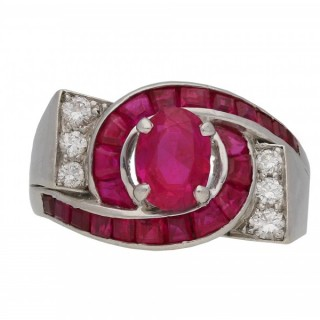 Oscar Heyman Brothers Burmese ruby and diamond dress ring, American, circa 1960.