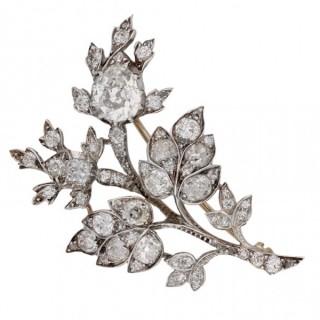 Diamond floral spray brooch, English, circa 1850.