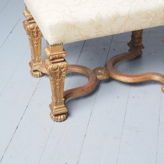Antique Carved Giltwood Baroque Style Stool