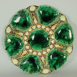 Minton Majolica Malachite Oyster Plate