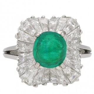 J. E. Caldwell cabochon emerald and diamond ballerina ring, circa 1950.