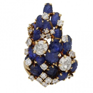 Marchak sapphire and diamond cocktail ring, French, circa 1940.