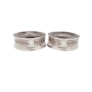 Pair of Sterling Silver Wine / Champagne Coasters 2008