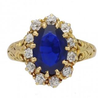 Victorian Burmese sapphire and diamond coronet cluster ring by Joseph Harris, circa 1896.