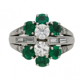 Diamond and emerald cluster ring, French, circa 1950.