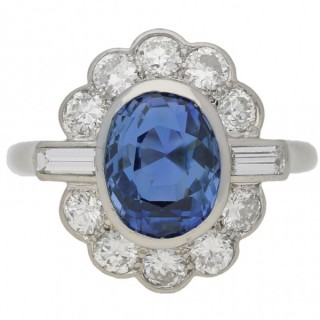 Mauboussin sapphire and diamond cluster ring, French, circa 1960.