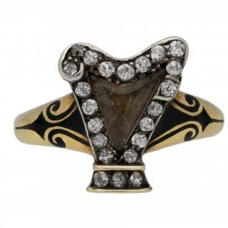 Victorian diamond and enamel harp memorial ring, English, circa 1895.