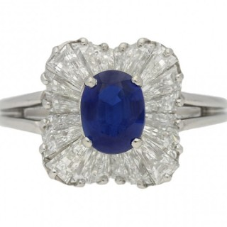 Oscar Heyman Brothers Burmese sapphire and diamond ballerina ring, American, circa 1970.