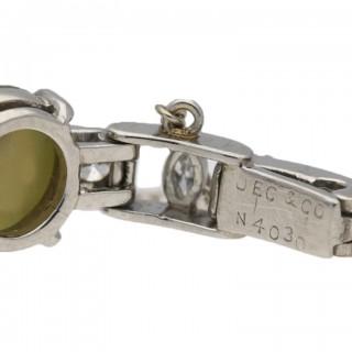 J.E. Caldwell cat's eye chrysoberyl and diamond bracelet, American, circa 1935.