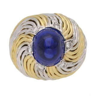 Sterle of Paris cabochon sapphire and diamond ring, French, circa 1950.