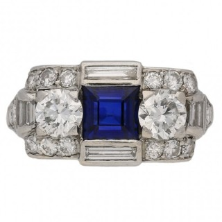 Tiffany & Co. sapphire and diamond ring, American, circa 1930.