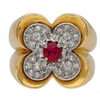 Van Cleef & Arpels ruby and diamond ring, circa 1945.