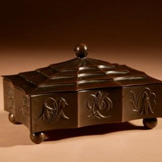 Original Patinated Metal Rectangular Box In The style of Dagobert Peche Wiener Werkstätte.