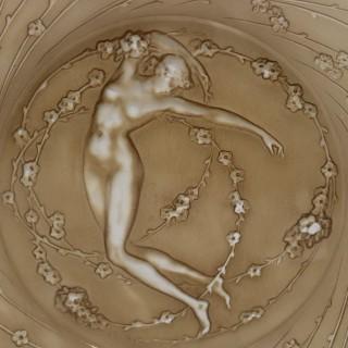Rene Lalique Glass 'Une Figurine et Fleurs' Plate