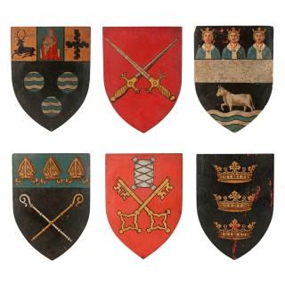 Six Edwardian Heraldic Shield Plaques