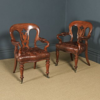 Antique English Pair of Victorian Oak & Brown Leather Office Desk Library Club Arm Chairs (Circa 1860)
