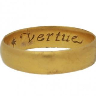 Stuart gold posy ring 'Vertue passeth riches', circa 17th century.
