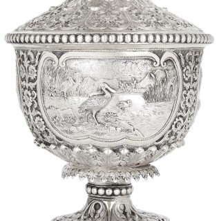 Indian engraved silver table fountain by Oomersi Mawji & Sons