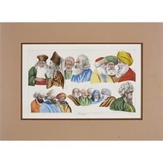 Set of four coloured etchings from Description de l'Égypte