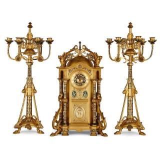 Byzantine style gilt bronze and champlevé enamel clock garniture by Raingo Frères