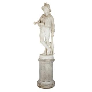 Full-size marble figure by Belgian sculptor Louis Samain