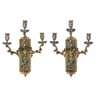 Pair of gilt bronze and enamel sconces in the Japonisme style