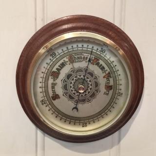 Edwardian Oak Aneroid Barometer