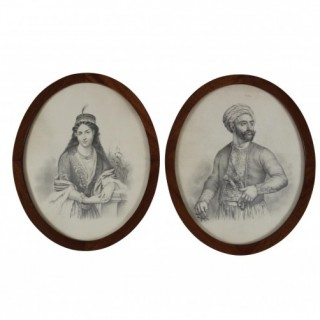 BLACK INK PORTRAITS OF A TURKISH SULTAN & SULTANA, 19TH CENTURY