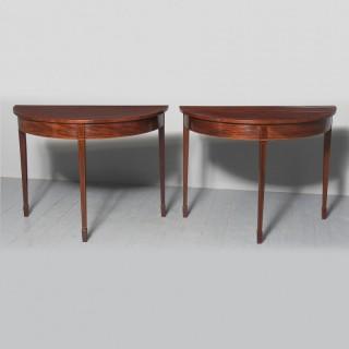 Pair of George III Inlaid Mahogany Hall Tables