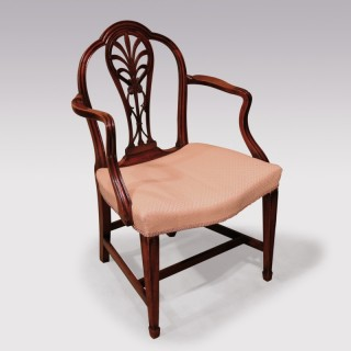 Late 18th Century Mahogany Armchair with Carved Back.