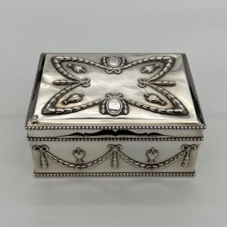 Antique Victorian Sterling Silver Box London 1886 Edward H Stockwell